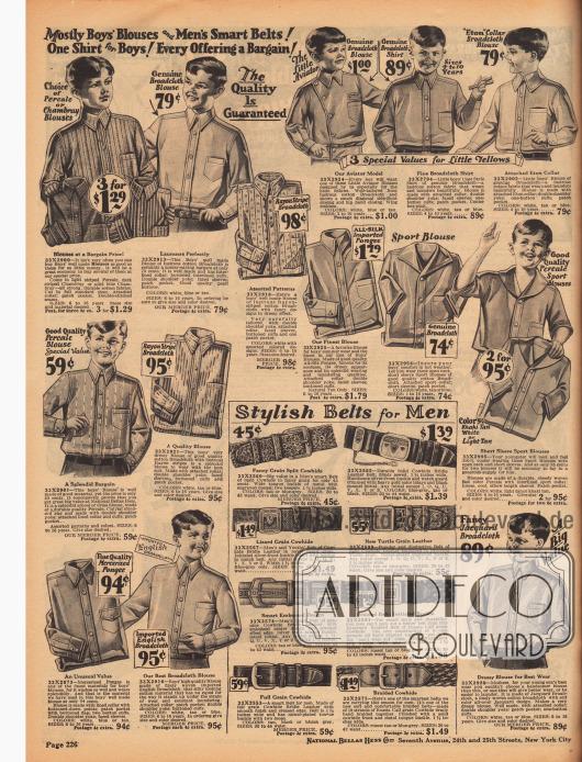 """Unifarbene, bunte und gestreifte Hemden für Jungen für die Schule, zur Tageskleidung und auch zum Sport aus Perkal oder Chambray, Baumwoll-Breitgewebe, Rayon, Seidengeweben, merzerisierten Stoffen und Jacquard. Die Sporthemden (Mitte rechts) besitzen kurze Ärmel und weite Umlegekragen mit freiem Hals. Oben mittig wird des Weiteren ein Hemd mit dem Namen """"The Little Aviator"""" mit diagonaler Knopfleiste beworben. Unten auf der Seite werden schmuckvolle Gürtel für Männer aus verschiedenen Ledersorten präsentiert."""