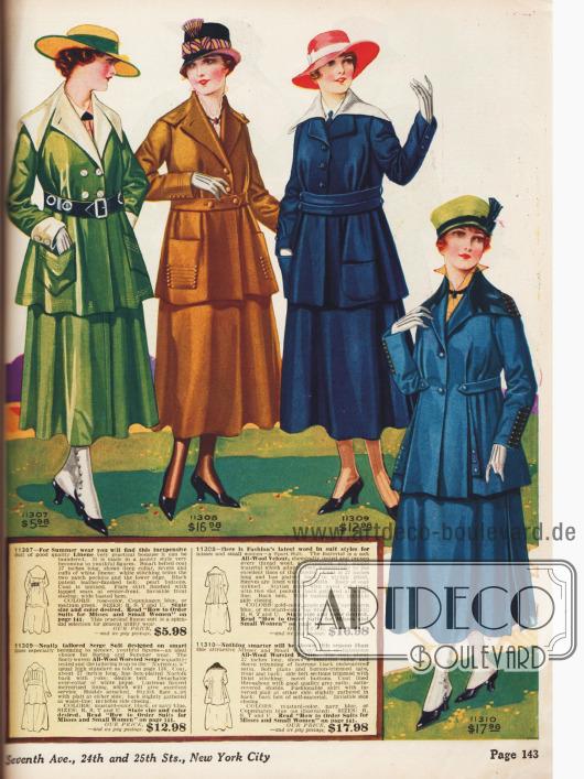Modische Kostüme für junge Damen.