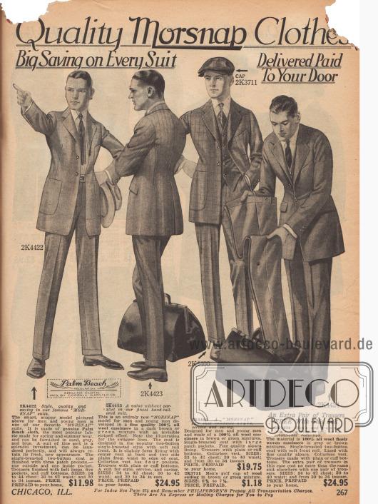 """Doppelseite mit überwiegend einreihigen Anzügen für Männer und jüngere Männer aus Woll-Kaschmir, Woll-Serge, """"Daytona beach suiting"""" (leichter Sommerstoff), """"Palm Beach cloth"""" (ebenfalls leichter Sommerstoff) und reinem Kaschmir. Die Sakkos zeigen kurze Revers und sind eng auf Taille sowie mit recht großen Taschen gearbeitet. Die passenden Hosen sind Knöchellang und ebenso röhrenartig eng geschnitten. Einzelne Modelle werden mit einem zweiten zusätzlichen Paar Hosen geliefert."""