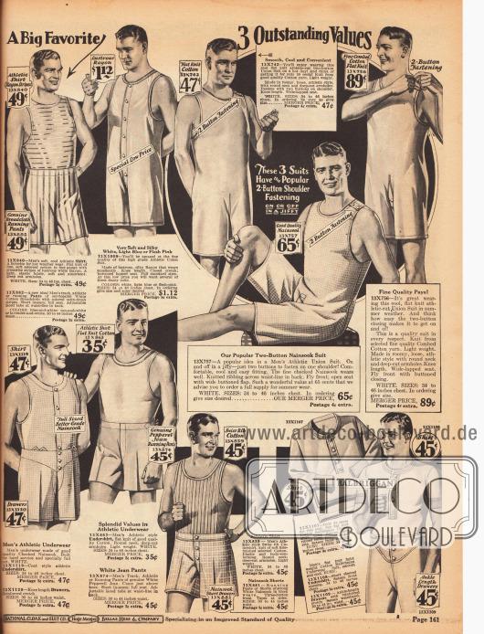 Ein- und zweiteilige Hemdhosen sowie Unterhosen und Unterhemden für Männer und junge Männer. Anders als die Hemdhosen auf der vorangegangenen Seite besitzen diese Hemdhosen keine Knopfleiste in der Front, sondern werden über Hemdträger zugeknöpft.Die Unterwäsche besteht aus gestreiftem oder leicht glänzenden Rayon, Baumwolle, Nainsook (leichtes, dünnes Musselin) und Feinripp-Baumwolle.