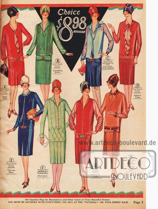 Geradlinige Damenkleider mit tiefen Gürtellinien, die durch Broschen und Schnallen an der gürtelartigen Front aufgewertet werden. Unterschiedlich gearbeitete Jabots und plissierte Röcke finden Verwendung.