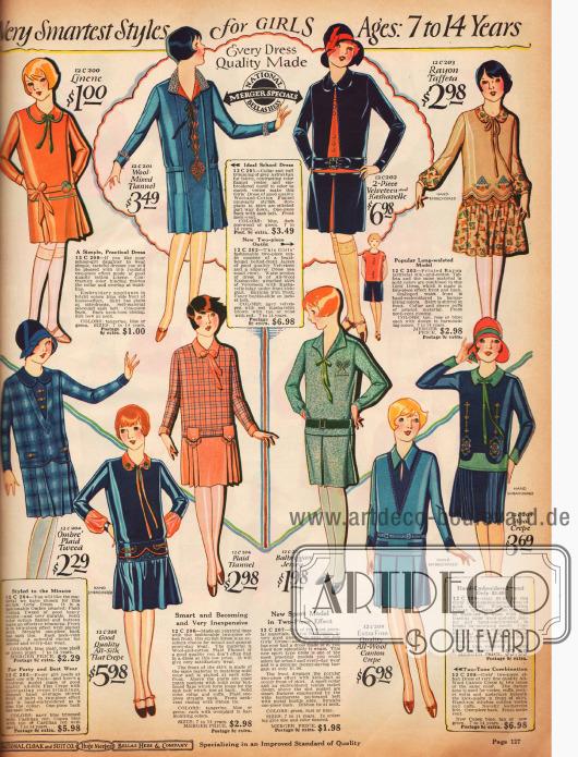 Doppelseite mit pelzverbrämten Wintermänteln und Kleidchen für Mädchen von 7 bis 14 Jahren.Die Mäntelchen sind vorrangig aus Woll-Velours und lederartig verarbeiteter Wolle. Die Kleidchen sind Leinen, Woll-Flanell, Samt, Rayon-Taft, Woll-Krepp, Jersey, Flanell, Seiden-Krepp und Tweed.