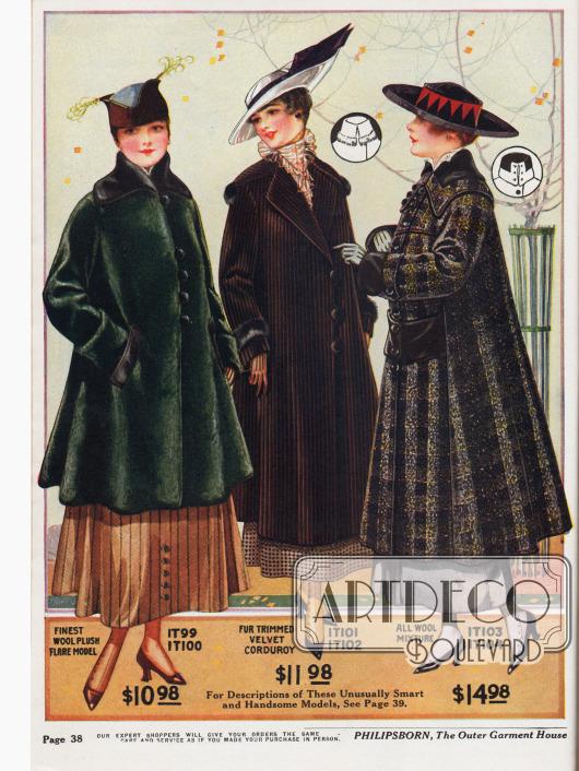 Wintermäntel für die modebewusste Dame aus Woll-Plüsch, Kordstoff sowie Mischstoffen aus reiner Wolle. Mit Preisen von 10,98 bis 14,98 Dollar liegen die Mäntel im günstigeren Preissegment.