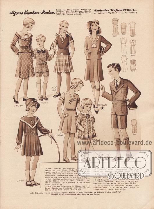 5238: Schulkleid aus bedrucktem Wollmusselin für Mädchen von 8 bis 12 Jahren. Weißer Kragen. R 372: Kittelanzug aus kariertem Wollstoff mit weißer Pikeegarnitur. Schnitt für Jungen von 2 bis 4 bzw. 4 bis 6 Jahre. 5239: Kleidchen aus kariertem und einfarbigem Wollstoff für Mädchen von 6 bis 10 Jahren. 5240: Kleid aus Wollgeorgette für Mädchen von 10 bis 14 Jahren. Garnitur aus Waschseide. 5241: Kleid aus Wollstoff für Mädchen von 4 bis 8 Jahren. Gestickte Motive. 5242: Kleid aus gelbem Wollstoff für Mädchen von 4 bis 8 Jahren. Rote Blenden und rot-weiße Wollstickerei. 5243: Hängerkleidchen aus Wollstoff für Mädchen von 2 bis 6 Jahren. R 418: Sportanzug aus gemustertem Wollstoff. Schnitt für Knaben von 8 bis 12 Jahren.