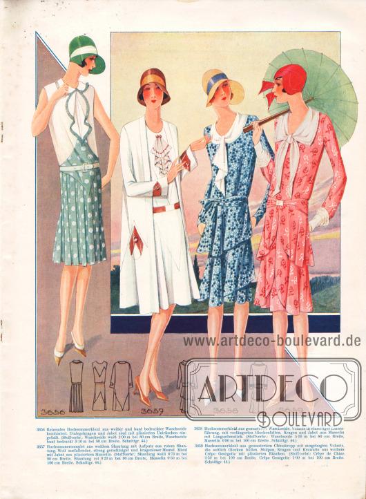 3656: Reizendes Hochsommerkleid aus weißer und bunt bedruckter Waschseide kombiniert. Umlegekragen und Jabot sind mit plissierten Unirüschen eingefaßt.3657: Hochsommercomplet aus weißem Shantung mit Aufputz aus rotem Shantung. Weit ausfallender, streng geradliniger und kragenloser Mantel. Kleid mit Jabot aus plissiertem Musselin.3658: Hochsommerkleid aus gemusterter Waschseide. Volants in einseitiger Linienführung, mit verlängerten Glockenfalten. Kragen und Jabot aus Musselin mit Languettenstich.3659: Hochsommerkleid aus gemustertem Chinakrepp mit ausgebogten Volants, die seitlich Glocken bilden. Stulpen, Kragen und Krawatte aus weißem Crêpe Georgette mit plissierten Rüschen.