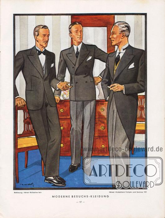"""""""Moderne Besuchskleidung"""": Der Einreiher sowie der kombinierte zweireihige Anzug werden für halbformelle vormittägliche Gelegenheiten, Teestunden, geschäftliche Angelegenheiten, Besuche und am Abend getragen. Das Sakko des Kombinierten ist aus dunklem Cheviot oder Kammgarn und die Hose ist gestreift und hell.Für sehr formelle oder feierliche Anlässe wird der Cut vorgezogen, dessen Schöße stark zurückgeschnitten sind und rückwärtig bis zur Kniekehle reichen.Zeichnung: Harald Schwerdtfeger."""