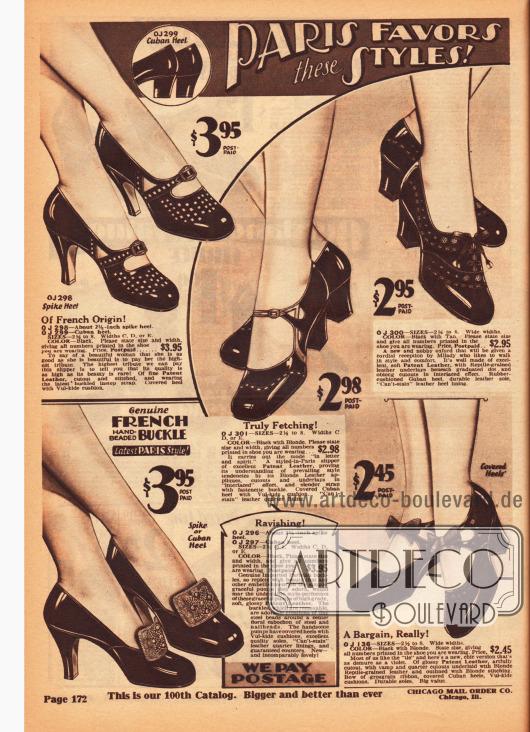 Damenschuhe, also Pumps, Oxfords und Schnallenschuhe, aus Lackleder mit kubanischen oder hohen spitzen Absätzen. Perforationen, Ausstanzungen, Einsätze aus unterschiedlich genarbtem und farbigem Leder sowie Schleifen und Zierschnallen geben jedem Schuhpaar den besonderen Schick.
