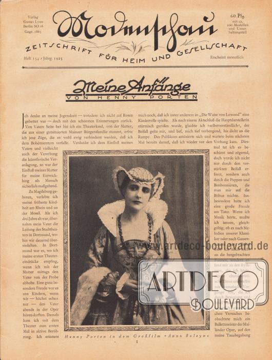 """Titelblatt der deutschen Illustrierten Modenschau - Zeitschrift für Heim und Gesellschaft.Artikel:Porten, Henny, Meine Anfänge.Der Artikel ist mit einem großen Foto der deutschen Stummfilmschauspielerin Henny Porten (1890-1960) ergänzt. Die Bildunterschrift lautet """"Henny Porten in dem Großfilm 'Anna Boleyn' [von 1920, M. K.]"""".Foto: Rembrandt."""