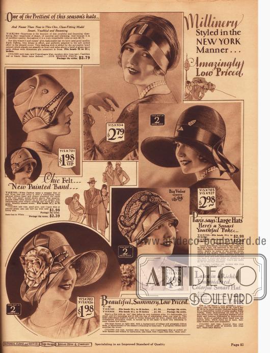 """Die fünf schönsten Damenhüte für Frühjahr und Sommer 1928 aus Woll-Filz, Faille-Taft, mailändischem Stroh, """"Pedaline"""" Strohgeflecht sowie """"Timbo"""" Hanf. Alle Hüte zeigen breite Ripsbänder sowie Hutnadeln, Kokarden, Kunstblüten oder aufwendige Stickereien. Das Modell oben links ist mehrfach geknifft. Die Krempe des Hutes oben rechts hat eine Weite von etwa 5 Inch (12,7 cm) und ist, wie beim Modell unten links, schutenartig gebogen. Die Krempe des Modells unten links ist zudem mit halbdurchsichtigem Pyroxalin Gewebe (Kunstfaser) belegt."""