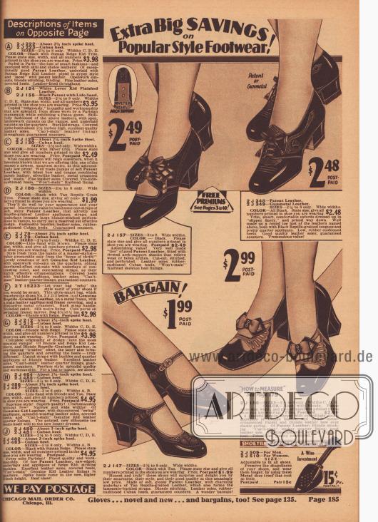 """""""Extra große Einsparungen bei Schuhen in beliebten Stilen!"""" (engl. """"Extra Big Savings on Popular Style Footwear!""""). Vier Damenschuh-Paare (Oxfords und Schnallenschuhe) aus Lackleder oder stahlgrau gefärbten Ledersorten, die teilweise mit reptilienartig genarbten oder helleren Ledern kombiniert wurden. Die Schuhe sind in eher konservativen Stilen gehalten und präsentieren kleine Applikationen und Schleifen. Oben links ein Modell mit vernieteter Stahlsohle zur Stabilisierung des Fußgewölbes. Die Absätze sind niedrig oder mittelhoch, dick und leicht geschweift, sog. Kubanische Absätze (""""Cuban heels""""). Unten rechts ein Schuhspanner wahlweise für Damen- oder Herrenschuhe für 15 Cent."""