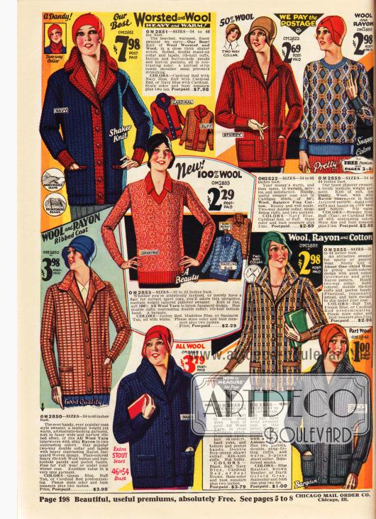 Strickwaren und bunten Farben und Musterungen für Frauen, wie Strickjacken (Cardigans) und Pullover aus Wolle, Rayon und Baumwolle.