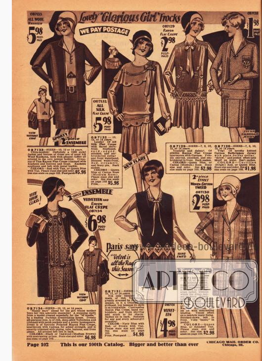Vier Kleider und drei Ensembles für Mädchen zwischen 7 und 14 Jahren. Die Kleider bestehen aus Seiden Krepp, Rayon Krepp, Baumwoll-Jersey sowie Samt und Rayon. Die Ensembles bestehen aus Woll-Kasha und Rayon Krepp (oben links), Samt und bedrucktem Rayon Krepp (unten links) sowie Baumwoll-Tweed und Woll-Flanell.