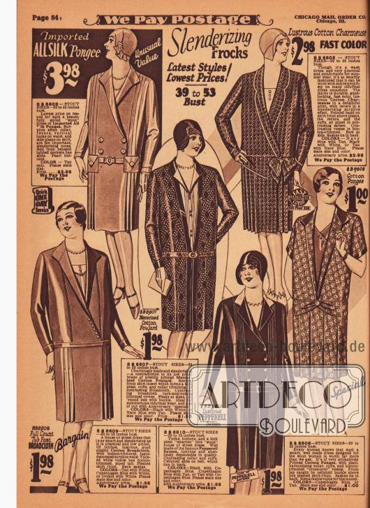 """""""Verschlankende Kleider"""" (engl. """"Slenderizing Frocks""""). Schlichte und günstige Tages- und Haushaltskleider für vollschlanke Damen. Die hier gezeigten Modelle sind aus importiertem Seiden-Pongee, merzerisiertem Baumwoll-Foulard, glänzender Baumwoll-Charmeuse, Baumwoll-Breitgewebe und """"Pepperell""""-Satin (hergestellt in den Pepperell Stoffwebereien in Biddeford, Maine, USA). Mehrere Modelle zeigen Westeneinsätze. Biesen, Knöpfe oder Schleifen dienen als Zierde und Plisseefalten erweitern die Röcke."""