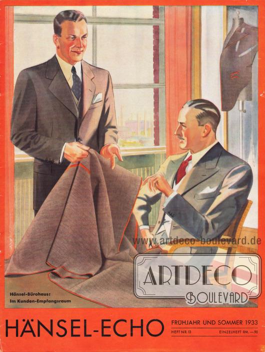 """Titelseite der Frühjahr/Sommer Ausgabe des Firmenmagazins Hänsel-Echo Nr. 13 von 1933, das den Titel trägt """"Hänsel-Bürohaus: Im Kunden-Empfangsraum"""". Zeichnung: Harald Schwerdtfeger (1888-1956)."""