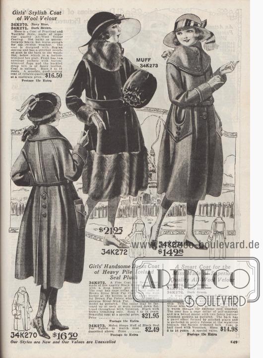 """Herbst- und Wintermäntel zu Preisen von 14,98 bis 21,95 Dollar für 8 bis 14-jährige Mädchen.  34K270 / 34K271: Woll-Velours Mantel wahlweise in Marineblau oder Dunkelbraun. Mantel mit weitem, aber nicht unförmigem Schnitt. Raglanärmel sowie invertierte Falte mit Paneel und seitlichen Falten im Rücken. Paneel mit Knöpfen. Aufgesetzte Taschen mit Klappen. 34K272: Pelzmantel aus schwarzem Island-Robben-Plüsch (Webpelz). Verbrämungen an Kragen, Manschetten und Saum aus langhaarigem, braunem Webpelz mit Flussnerz-Textur (engl. """"River Mink Fur""""). Konvertierbarer Kragen und Webpelz-Gürtel. Venezianischer Futterstoff. 34K273: Muff in Melonenform aus schwarzem Webpelz mit Robbenfell-Textur (engl. """"Black Seal Fur Fabric"""") für 2,49 Dollar. 34K274 / 34K275 / 34K276: Wintermantel aus Woll-Velours, bestellbar in Dunkelbraun, Marineblau oder Dunkelgrün. Breiter Cape-Kragen sowie tief ausgeschnittene, aufgesetzte Taschen mit abgesteppten Kanten. Rücken mit Stepperei im Paneel-Effekt."""