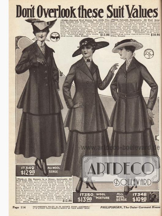 """""""Don't Overlook these Suit Values - Each One a Rare Bargain"""" (dt. """"Übersehen Sie diese günstigen Kostüme nicht - Jedes ein seltenes Schnäppchen"""")Drei Stadtkostüme für Damen aus reinem Woll-Serge, einem Woll-Gemisch und wieder reinem Woll-Serge."""