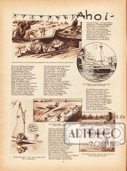 """Lustige Zeichnungen und kurze Reime zum Thema Wassersport, Urlaub und Sommerfrische – """"Ahoi"""". Illustrationen/Zeichnungen: Hans Kossatz (1901-1985)."""