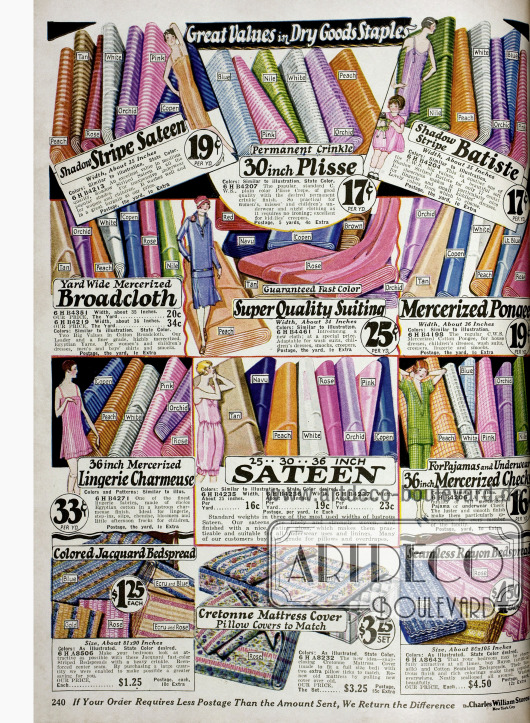 Gestreiftes Satin, Plisseestoff, Batist, mercerisiertes Breitgewebe und Satin zum Selbstschneidern von Kleidern und Unterwäsche. Unten im Bild sind Tagesdecken aus Jacquard und Rayon sowie Matratzenbezüge aus Cretonne.