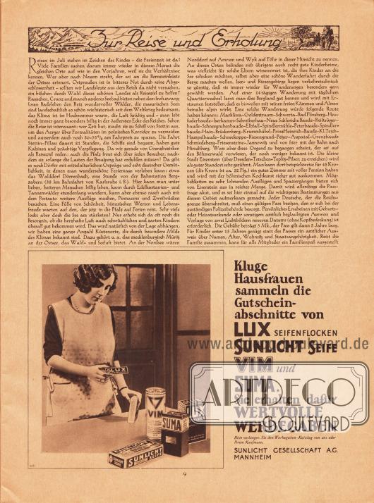 Artikel:O. V., Zur Reise und Erholung.Werbung:Lux Seifenflocken, Sunlicht Seife, Vim und Suma, Sunlicht Gesellschaft AG, Mannheim.