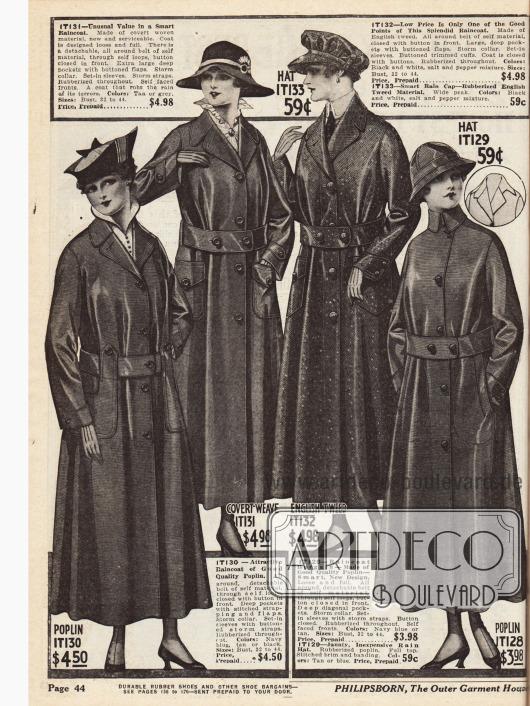 Regenmäntel für Damen aus Popelin, gummiertem Gewebe, englischem Tweed und ebenfalls Popelin. Für die letzten beiden Modelle sind auch Regenhauben aus denselben Materialien im Angebot.