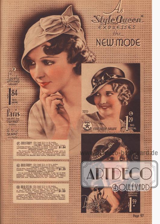 """""""Diese neuen Hüte sind die schicksten überhaupt"""". Es sind Hüte der Chicago Mail Order Marke """"Style Queen""""."""