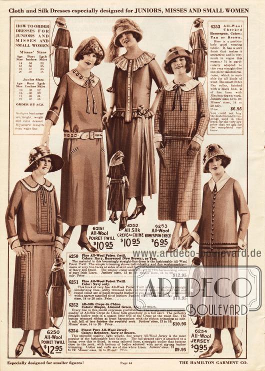 Damenkleider der mittleren unteren Preisklasse aus Poiret Wolle, Seiden Crêpe de Chine, kariertem Woll-Homespun oder Woll-Jersey für junge Frauen und Damen mit kleinen Konfektionsgrößen.Das erste Kleid ist dezent bestickt und zeigt eine weiße Garnitur aus importiertem irischem Leinen. Beim zweiten Kleid wurden Kragen und Gürtel aus demselben Leder gefertigt. Der Kragen schließt mit einer Schleife und Quasten ab. Das dritte Modell ist ein Stilkleid mit geradem Oberteil und vollem, weitem Rock ab der Hüfte. Die plissierte Krause harmoniert mit den Rüschen an Ärmeln und Taille. Das vierte Kleid zeigt eine Garnitur mit Peter Pan Kragen und schwarzer Schleife. Das letzte Kleid ist zweiteilig und besteht aus einer hemdartigen Jacke mit zwei Lederbändern mit zig-zag Rand. Der dazugehörige Rock ist rundum plissiert.