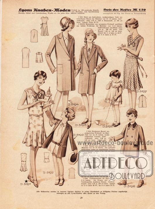 5191: Kleid aus bedrucktem, weißgrundigem Voile mit einfarbigem Besatz für Mädchen von 10 bis 14 Jahren.5192/93: Mäntelchen aus genopptem Wollstoff und Kleid aus hellem Wollkrepp für Mädchen von 2 bis 6 Jahren.5194: Kleidsamer Mantel aus gemustertem Wollstoff für Mädchen von 12 bis 16 Jahren. Große aufgesetzte Taschen.5195: Mantel aus genopptem Kasha für Mädchen von 10 bis 14 Jahren. Die seitlichen Kellerfalten enden an eingesetzten Taschen.5196: Kleidchen aus Voile für Mädchen von 1 bis 4 Jahren. Abstechende Stickerei und Einfassung ergibt die Garnitur.5197: Flottes Kleid aus kariertem Wollmusselin für Mädchen von 12 bis 16 Jahren. Den Rock ergänzen seitlich eingefügte Glockenteile. Die Ausschnittblende greift über einen weißen Garniturteil.5198: Tuchmäntelchen für Knaben von 2 bis 6 Jahren. Am Kragen und an den Taschenpatten dunklerer Besatz.