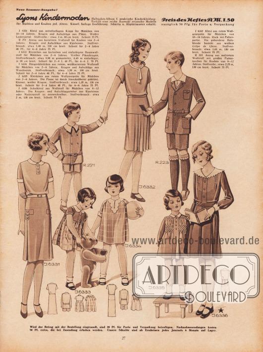 J 6331: Kleid aus mittelfarbigem Krepp für Mädchen von 10 bis 14 Jahren. Kragen und Aufschläge aus Pikee. Weißer Ledergürtel. Stoffverbr.: etwa 3 m, 80 cm breit. Schnitt 75 Pf. R 271: Anzug aus kariertem Wollstoff für Knaben von 2 bis 6 Jahren. Kragen und Aufschläge aus Ripsleinen. Stoffverbrauch: etwa 1,40 m, 130 cm breit. Schnitt für 2 bis 4 Jahre 40 Pf., für 4 bis 6 Jahre 75 Pf. J 6332: Kleid aus rotem Wollgeorgette für Mädchen von 10 bis 14 Jahren. Rock mit Faltenpartie. Die gebundene Halsblende besteht aus weißem Crêpe de Chine. Stoffverbrauch: etwa 1,65 m, 130 cm breit. Schnitt 75 Pf. R 223: Anzug aus meliertem Wollstoff mit großen Pattentaschen für Knaben von 8 bis 12 Jahren. Stoffverbr.: etwa 2,25 m, 130 cm breit. Schnitt 75 Pf. J 6333: Kleidchen aus kariertem und einfarbigem Baumwollstoff für Mädchen von 2 bis 6 Jahren. Weißer Pikeekragen. Stoffverbrauch: etwa 0,90 m gemusterter, 0,45 m einfarbiger, je 80 cm breit. Schnitt für 2 bis 4 J. 40 Pf., für 4 bis 6 J. 75 Pf. J 6334: Hängerkleidchen aus rotem, weißkariertem Wollstoff für Mädchen von 2 bis 6 Jahren. Kragen und Aufschläge aus Waschseide. Stoffverbrauch: etwa 1,50 m, 100 cm breit. Schnitt für 2 bis 4 Jahre 40 Pf., für 4 bis 6 Jahre 75 Pf. J 6335: Kleidchen aus rotem Wollgeorgette für Mädchen von 2 bis 6 Jahren. Die Passe ist durch Smocknäherei gebildet. Kleiner, weißer Kragen. Stoffverbrauch: etwa 1,35 m, 130 cm breit. Schnitt für 2 bis 4 Jahre 40 Pf., für 4 bis 6 Jahre 75 Pf. J 6336: Schulkleid aus Wollstoff für Mädchen von 8 bis 12 Jahren. Die Kragen- und Aufschlaggarnitur aus Ripsleinen oder Madeirastoff ist auswechselbar. Stoffverbrauch: etwa 2 m, 130 cm breit. Schnitt 75 Pf. [Seite] 27