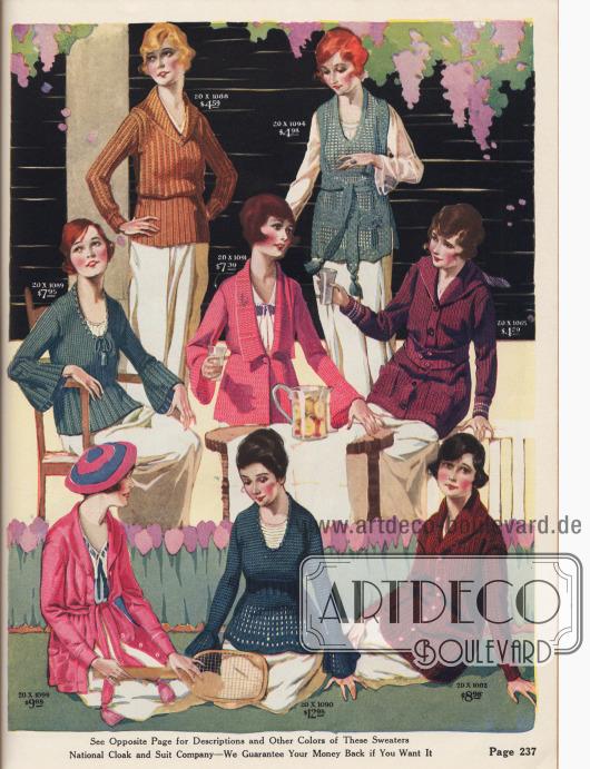 Farbenfrohe Stickpullover und Cardigans in unterschiedlichsten Aufmachungen, z.B. mit Kimonoärmeln, eingearbeitete Taillen, großen Kragen oder langen Gürtelbändern mit Quasten.