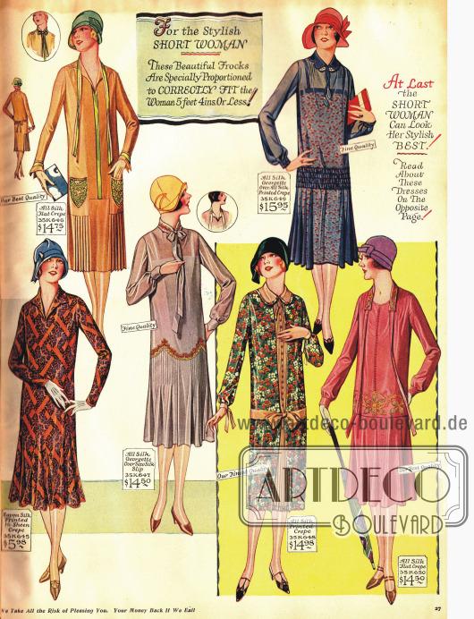Sommerkleider mit glockig aufgehenden Röcken. Aufgenähte Taschen und Stickereien markieren die Gürtellinie.