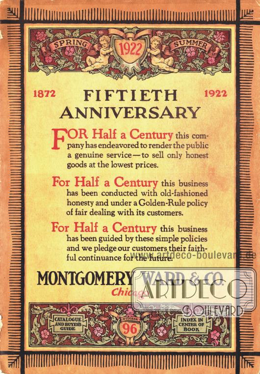 Cover des Frühjahr/Sommer Versandhauskatalogs der Firma Montgomery Ward & Co. von 1922.