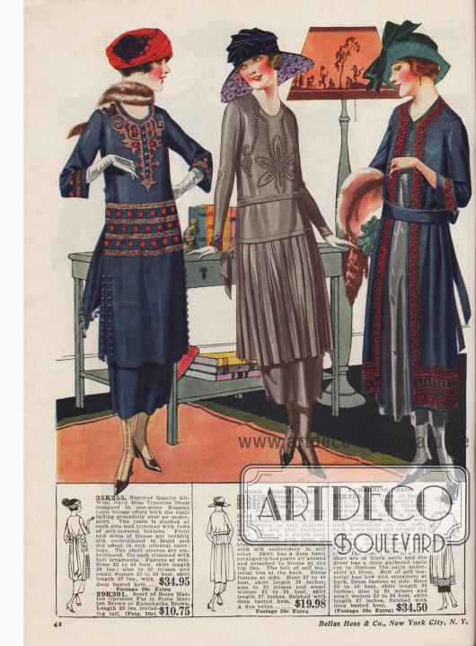 Elegante Tages- und Besuchskleider für Damen zu Preisen von 19,98 bis 34,95 Dollar und ein Pelzschal bzw. Würger für 10,75 Dollar. 35K255: Marineblaues Kleid aus Woll-Trikotine mit langer, russischer Tunika. Die Tunika fällt elegant über den Unterrock und ist beidseitig geschlitzt. Knöpfe mit Kleidstoff bezogen. Reiche Seidenstickerei in Flecht- und Punkteffekt in orientalischer Farbgebung an Taille, Ausschnitt und Unterärmeln. 29K391: Würger aus Steinmarder-Opossum-Fell in Braun oder Kamtschatka-Braun. 35K256 / 35K257 / 35K258: Praktisches Kleid aus Woll-Jersey, bestellbar in Maulwurfsgrau, Rentierbraun oder Pflaumen-Lila. Modell mit neuer verlängerter Taillenlinie. Vorderseite mit Seidenstickerei in Kleiderfarbe. Tunika rundum in Kellerfalten arrangiert. 35K259: Charmantes Kleid aus marineblauer Kammwoll-Trikotine mit glänzendem Satin kombiniert. Bortenartige Kammgarn-Stickerei in leuchtendem Pompei-Rot an Unterärmeln, Nacken, der Vorderseite und am Tunika-Saum. Stoffgürtel mit langen Bändern und Schleife im Rücken.