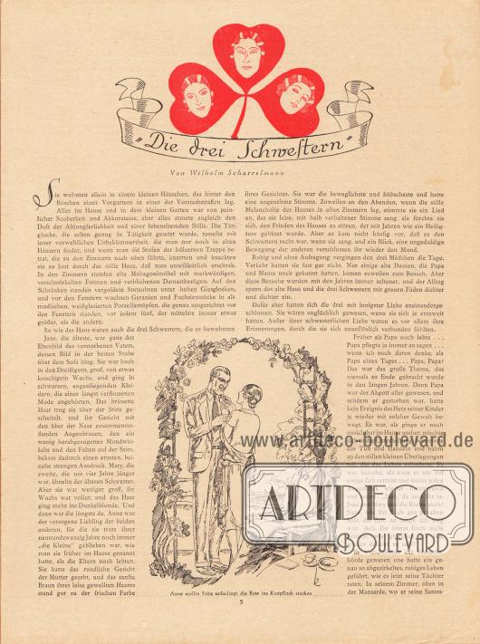 """Artikel: Scharrelmann, Wilhelm (1875-1950), Die drei Schwestern. Die Geschichte wird mit einer Zeichnung mit der Unterschrift """"Anne wollte Fritz unbedingt die Rose ins Knopfloch stecken"""" begleitet. Zeichnung: """"k"""" (Kretschmann)."""