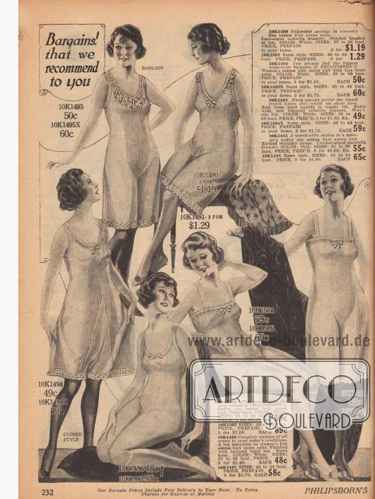 """Doppelseite mit """"union suits"""" (dt.: einteilige Hemdhöschen) mit kurz geschnittenen weiten Beinen für Frauen jeden Alters und jeder Körperform. Überwiegend Baumwolle in Feinripp oder auch Handschuhseide finden Verwendung."""