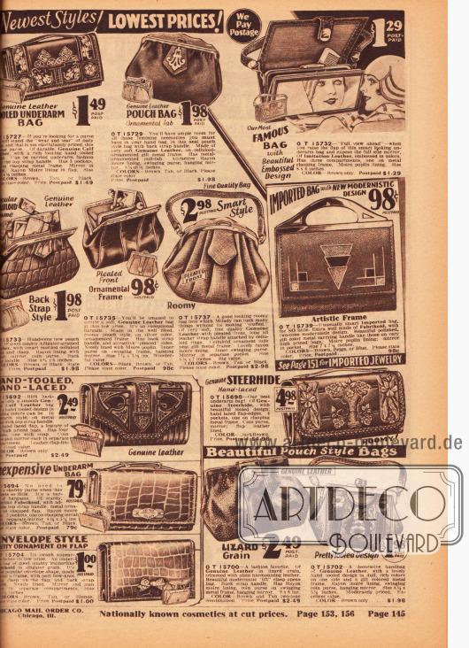 Günstige sowie kleine und größere Rahmenhandtaschen aus echtem Leder (z.B. Kalbsleder oder Ochsenleder). Oben rechts wird eine große, flache Handtasche mit breitem Spiegel präsentiert, die ein bequemes Schminken und Zurechtmachen ermöglicht. Genau darunter wird eine flache Handtasche mit modernistischem Dessin und künstlerischem Rahmen beworben. Links unten befinden sich praktische Geldbörsen.