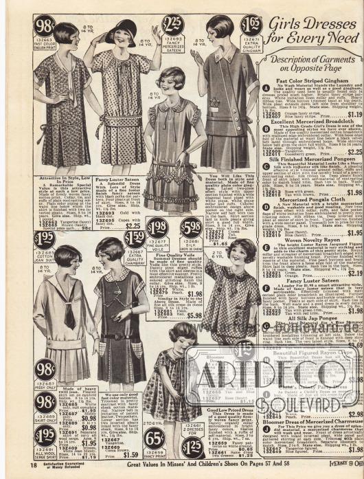"""Einfache und schicke Kleider für die Schule oder zum Spielen für 8 bis 14-jährige Mädchen. Die Stoffe der Kleider sind bedruckte Baumwolle, mit Polka Punkten bedruckter Satin, Voile (Schleierstoff), Gingham, Jeansstoff oder Baumwoll-Gewebe. Unten rechts sind auch sogenannte """"Bloomer Dresses"""" (sehr weit geschnittene Kleidchen mit Höschen) aus bedruckten Baumwollstoffen für 2 bis 6-jährige Mädchen."""