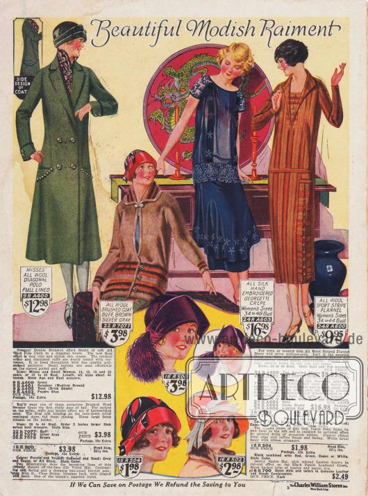 Wadenlange Kleider, ein Mantel und Hüte. Obwohl die Pariser Haute Couture Knie kurze Kleider vorschlägt, setzen diese sich noch nicht durch.