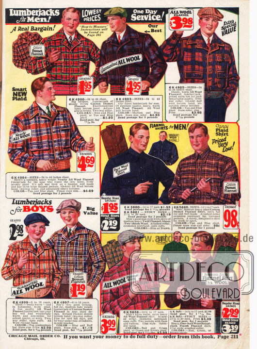 """Kurze, hochgeschlossene Lumberjacks (""""Holzfällerjacken"""") für Männer."""