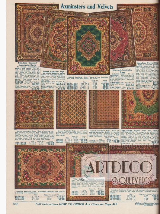 Kleinere und größere Samt-Teppiche im Axminster-Stil mit floralen, leuchtenden Mustern, im Medaillon-Motiv oder im eher zurückhaltenden, ruhigen Design. Die Größen reichen von 68,58 x 132,08 cm (27 x 52 Inch, oben links) über 1,83 x 2,74 m (6 x 9 Feet) bis 3,43 x 3,66 m (11¼ x 12 Feet, unten rechts).