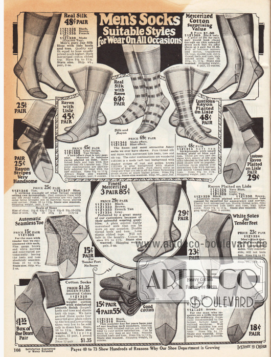 """""""Männer Socken die zu allen Gelegenheiten getragen werden können"""" (engl. """"Men's Socks Suitable Styles for Wear On All Occasions""""). Herrensocken aus Seide, gemustertem Rayon, Rayon und Baumwollzwirn, Rayon-Seide oder merzerisierter Baumwolle für eher förmliche Gelegenheiten (oben) und dicke Socken aus Baumwollgeweben in schweren Qualitäten für Fabrik, Arbeit und Farm (unten)."""