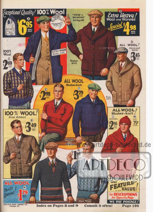 Feine Strickjacken und –pullover aus Wolle für den modebewussten Herrn.