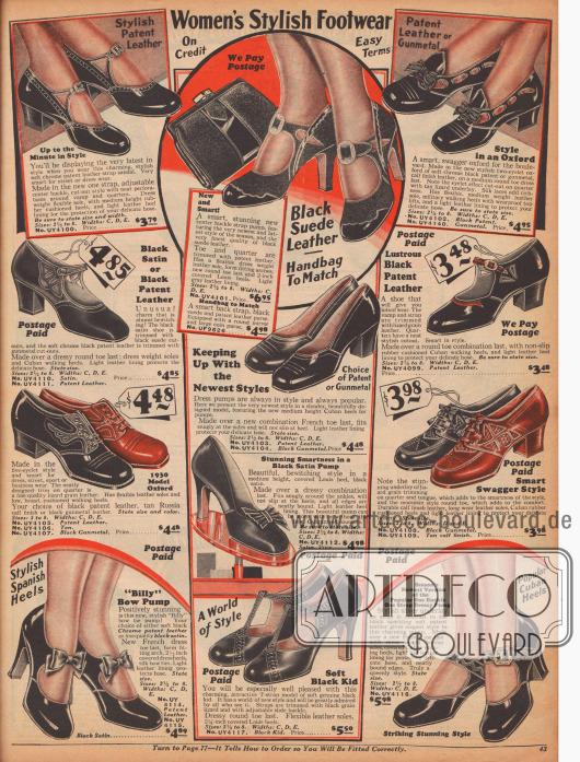 """""""Modische Damenschuhe – Auf Kredit – Günstige Konditionen"""" (engl. """"Women's Stylish Footwear – On Credit – Easy Terms""""). Elegante Damenschuhe aus Lackleder, Satin, Veloursleder, Kalbsleder oder Chevreauleder (Ziegenleder). Unter den Modellen sind Oxfords, Pumps, Schnallenschuhe sowie ein Spangenschuh mit T-Schnalle. Dekorative Schleifen, Perforationen und Ausstanzungen und eidechsenartig genarbtes Leder verarbeitet mit glattem Leder geben jedem Modell eine besondere Note. Die Absätze sind entweder eher niedrig, mittelhoch (""""Cuban heel"""") oder spitz und hoch (""""spike heel""""). Ein Modell mit passender Rahmenhandtasche."""