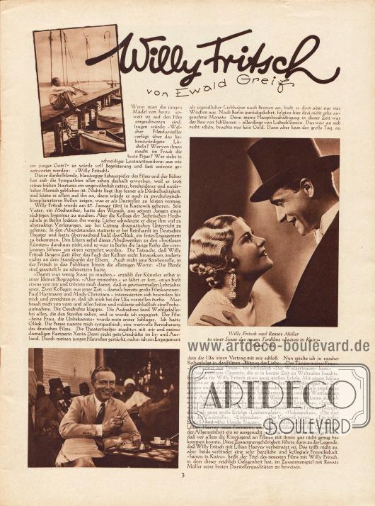 """Artikel:Greif, Ewald, Willy Fritsch.Eines der drei Bilder zeigt Willy Fritsch (1901-1973) und Renate Müller (1906-1937) in einer Szene des Tonfilms """"Saison in Kairo"""".Fotos: Ufa."""
