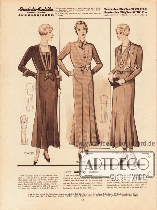 4891: Kleid für fülligere Damen aus marineblauem Wollstoff. Einsatz, Kragen und Manschetten sind mit abstechenden Blenden garniert. 4892: Kleid für vollschlanke Frauen aus braunem Diagonal-Wollstoff. Die gebundene Kragenblende und die Schleife sind mit heller Seide unterlegt. 4893: Nachmittagskleid stärker gebaute Frauen aus braunem Marocain. Der linksseitlich geraffte Kragen ist an den Enden mit hellen Teilen unterlegt.