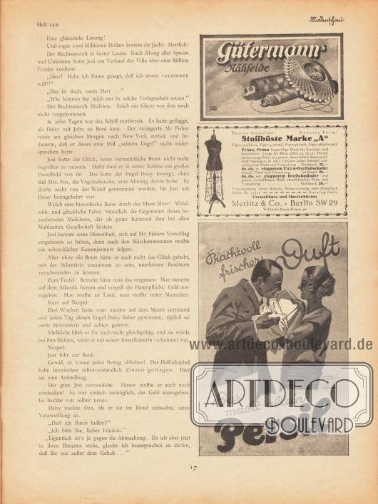 """Artikel:Jung, Hans, Der Bräutigam auf Probe.Werbung:Gütermanns Nähseide&#x3B;Stoffbüste Marke """"A"""", Merlitz & Co., Berlin SW 29, Willibald-Alexis-Strasse 40&#x3B;Persil, Zeichnung: Ludwig Hohlwein, München (1874-1949)."""
