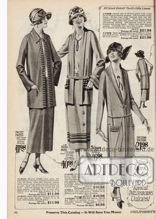 Doppelseite mit fünf Kostümen aus Woll-Serge, Woll-Kamel-Polostoff, Woll-Jersey und Woll-Poiret Garn. Die langen und geradlinig geschnittenen Jacken der Kostüme sind teilweise mit Paspeln (1. und 5. Kostüm), eingewebten Streifen (2. Kostüm), feinen Rüschen (3. Kostüm) oder Stickereien (4. Kostüm) versehen. Nur drei der Modelle zeigen einen Gürtel.Das vierte Modell ist ein wandelbares dreiteiliges Hosenkostüm aus Woll-Tweed für außer Haus Aktivitäten.
