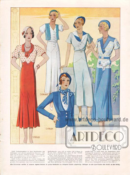 5629: Nachmittagskleid in einer Kombination von einfarbigem und passend gepunktetem Marocain. Sehr apart ist der graziös drapierte Kragen.5630: Fesches Sportkleid aus weißem Leinen, mit Puffärmeln und Faltenfächern gearbeitet. Das in Hellblau gewählte Bolerojäckchen zeigt vorn Lochstickereimotive.5631: Flotte Sportjacke aus marineblauem Wollstoff, zu hellen Sommerkleidern zu tragen. Anliegende Form mit einreihigem Knopfschluß.5632: Sommerkleid aus heller Waschseide. An Taille und Rock gleichartige Passenteilungen. Für das leicht geraffte Tuch ist weiße Seide mit dunkelblauer Seide wirkungsvoll kombiniert.5633: Jugendliches Kleid aus bunt gemusterter und einfarbig blauer Kunstseide. Letztere ergibt den Rock und ist der Taille passenartig eingearbeitet.