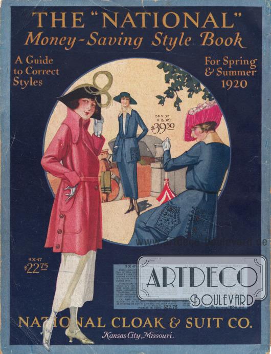 Eine elegante Jacke und ein Kostüm für die Dame. Die Jacke zeichnet sich durch einen übergroßen Kragen und Taschen aus und wird über einen Gürtel geschlossen. Das zweiteilige Kostüm weist großzügige Stickereien an den Taschen und an der Rückseite des Schoßes auf.