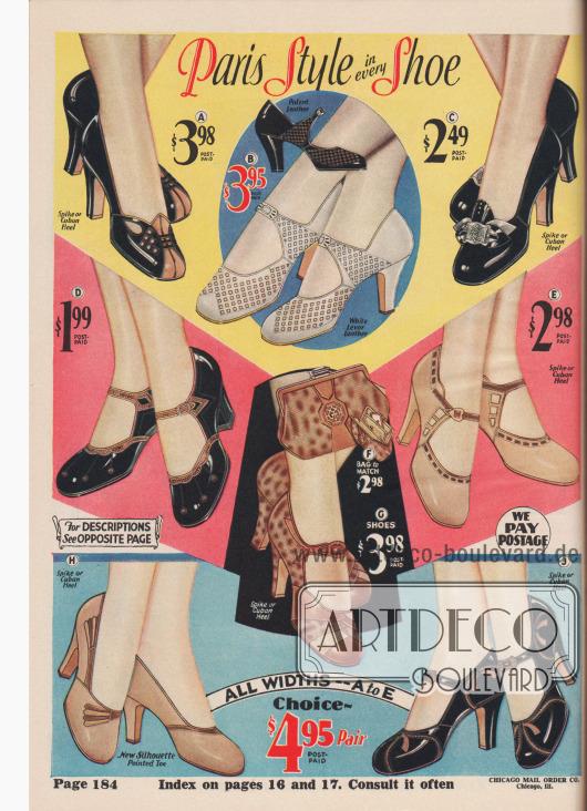 """""""Pariser Stil in jedem Schuh"""" (engl. """"Paris Style in every Shoe""""). Damenschuhe. Pumps und Riemen- bzw. Schnallenschuhe aus Lackleder, Chevreauleder (Ziegenleder) oder reptilienartig genarbtem Leder für mode- und stilbewusste Frauen. Viele Modelle sind mit unterschiedlich farbigen Ledern interessant kombiniert. Die Schuhe zeigen Perforationen oder offene Gitterwerk-Ausstanzungen (Modell B, """"open latticework cutouts""""). Zur Auswahl stehen die Schuhpaare wahlweise mit hohen, spitzen Absätzen (""""spike heel"""") oder etwas dickeren und mittelhohen Kubanischen Absätzen (""""Cuban Heel""""). Das Modell G aus Reptilienleder kann mit einer passend korrespondierenden Handtasche (F) gekauft werden."""