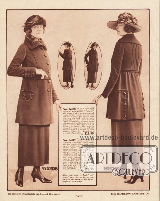5208: Winterliches Kostüm in der mittleren Preisklasse aus reinem Woll-Velours für Damen und junge Frauen. Der offen tragbare oder eng am Hals verschließbare Kragen ist mit seidigem Bieberfell besetzt. Mit dem Mantelmaterial bezogene Knöpfe und dekorative Paspeln sind an den Unterärmeln, Taschen und auch im Rücken der Kostümjacke zu finden. Im Rücken ist der Jackenschoß in tiefe Falten gelegt. 5209: Die Jacke des Kostüms ist vorne in dem Stil eines Norfolk-Anzugjacke gehalten und im Rücken blusig gearbeitet. Aufgesetzte Stoffpaneele werden von der Brust bis zum Jackenschoß geführt, wo sie auch die breiten Taschen bilden. Mehrere parallele Seidennähte sowie dekorative Knöpfe zieren die Taschen. Fünf vertikale Paspeln reichen von der Schulter bis zum schmalen Gürtel.